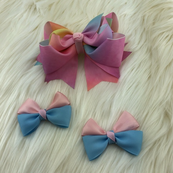 Other - Head bow ribbons pink, yellow, blue, handmade